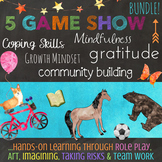 5 Community Building Coping Skills School Counseling Lessons / Quiz Show Bundle!