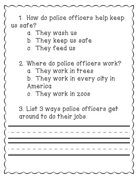Community Helpers- Reading Comprehension Passages K-2