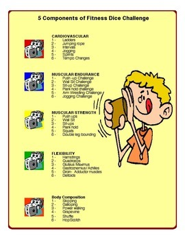 Physical Education - 5 Components of Fitness Dice Warm-up