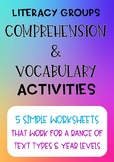 5 Comprehension & Vocabulary Worksheets for Literacy Groups
