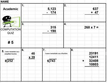 5 Computation Quizzes Add Subtract Multiply Divide Basic Compute Quiz PDF Excel