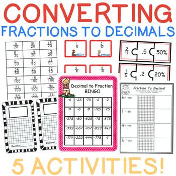 5 Converting Fractions to Decimal Activities