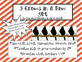 5 Crows in a Row Counting Math Center and Number Poster Set