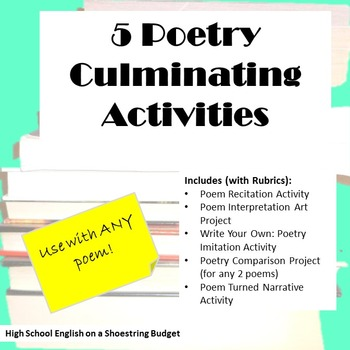 5 Culminating Poetry Activities (For Any Poem) -PDF
