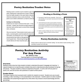 5 Culminating Poetry Activities (For Any Poem) -WORD