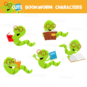 5 Cute Bookworm Characters + Black And  White Versions