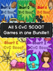 Short Vowels 5 CvC SCOOT Task Card Games BUNDLE A E I O and U
