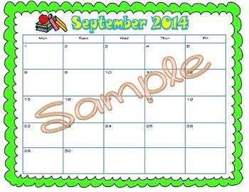 5 Day Calendars - Sept 2014-June 2015 (Publisher Version)