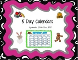 5 Day Calendars - Sept 2014-June 2015 (PDF Version)