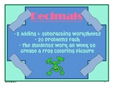 5 Day Decimals Packet - Adding and Subtracting - Frog Coloring Picture