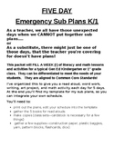 5 Day Emergency Sub Plans for K-1