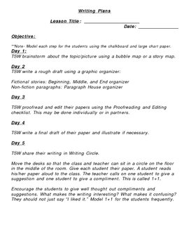 5 Day Generic  Writing Plans - Open Ended Writing Lesson Plans