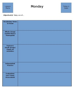 5 day lesson plan template by confessions of a public school teacher