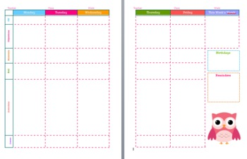 5-Day Lesson Plan Template for Binders