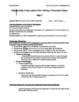5 Day Lesson Plan: Writing a Persuasive Essay