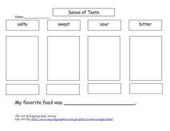 5 Day Lesson Plan on the Five Senses (Taste)