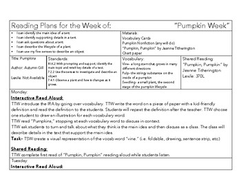5-Day PUMPKIN Interactive Read Aloud Plans with Shared Reading