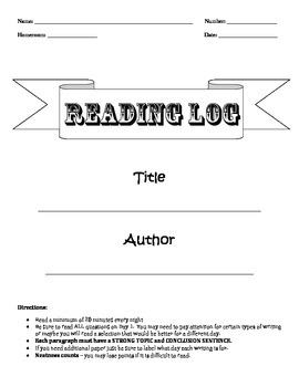 5 Day Reading Log with common core standards (1st set)