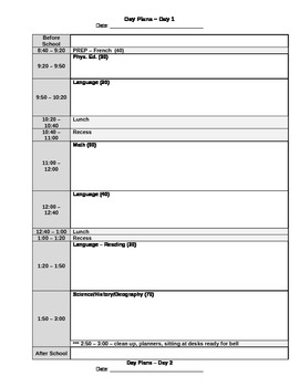 day plan template for teachers 5 day rotary day plan template by canadian teacher lady tpt