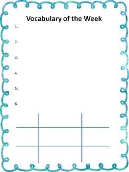 5 Day Vocabulary Sheet
