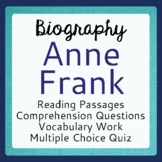 Anne Frank Biography Informational Texts Activities Grade 6, 7, 8