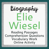 NIGHT Elie Wiesel Biography Informational Texts Activities