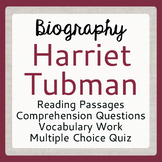 Harriet Tubman Biography Informational Texts Activities