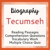 Tecumseh Biography Informational Texts Activities Grade 6, 7, 8