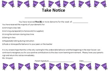 5 Demerits Note Home