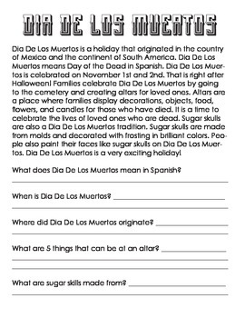 5- Dia De Los Muertos Coloring Page & Reading Comprehension- ELEM Social Studies