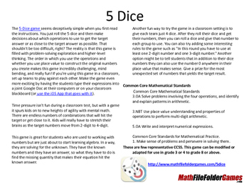 5 Dice: Order of Operations Games