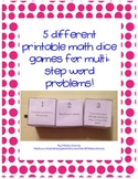 5 Different Printable Math Dice Games for Multi-step Word