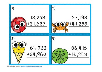 5 Digit Addition Regrouping Summer Task Cards