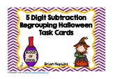 5 Digit Subtraction Regrouping Halloween Task Cards