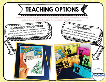 5 ELA Doodle Notes and Activities Mini-Units - Reading Comprehension Passages