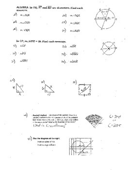 5 Double Sided Inscribed Angles and Arcs of Circles Chords Plus Bonus