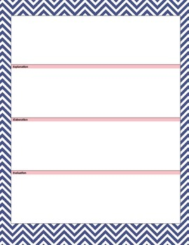 (WORD) 5E Learning Cycle Lesson Template - Navy/Pink Chevron