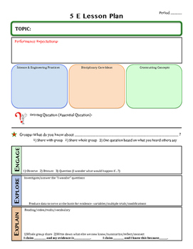 5 E Lesson Plan Sample