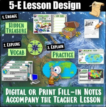 5-E Locations Lesson Bundle- Absolute & Relative (Using Latitude and Longitude)