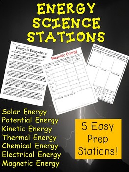 5 Easy Prep Science Stations- FORMS OF ENERGY