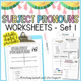 Spanish Subject Pronouns Worksheets - Editable - Distance