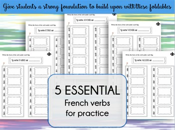 5 Essential French Verbs Foldables
