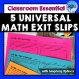 5 Universal Math Exit Ticket Slips for Middle & High School