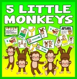 5 FIVE LITTLE MONKEYS NUMBER RHYME TEACHING RESOURCE MATHS EYFS KS1 ROLE PLAY