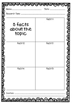5 Facts - Research Graphic Organiser