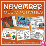 Thanksgiving & Fall Music Activities, Worksheets, and Color-by-Note for November