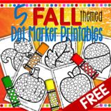 5 Fall Themed Dot Marker Printables - Apple, Pumpkin, Leaf, Squirrel, Acorn