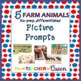 5 Farm Animals No-prep, Differentiated Picture Prompts for