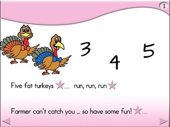 5 Fat Turkeys - Animated Step-by-Step Poem - Regular