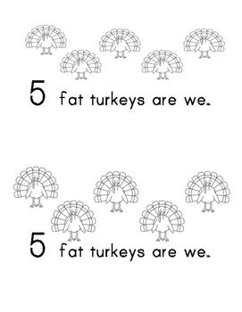 5 Fat Turkeys Reader Thanksgiving Harvest Precious Preschoolers